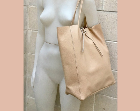 TOTE leather bag in LIGHT peach beige. Soft GENUINE  leather bag. Large beige leather bag. Laptop, tablet bag, leather bag for books.
