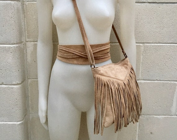 Cross body bag. BOHO suede leather bag in  BEIGE with FRINGES and suede waistbelt.Hippy suede bag and belt set in beige