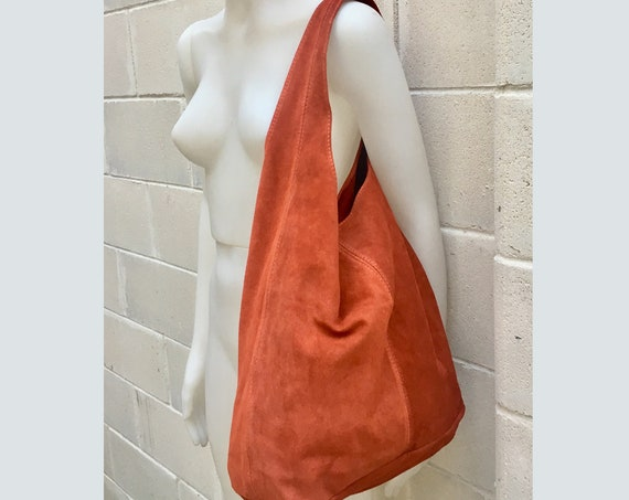 Slouch bag.Large TOTE leather bag in burnt ORANGE. Soft natural suede leather bag. Boho bag. DARK orange  suede bag.