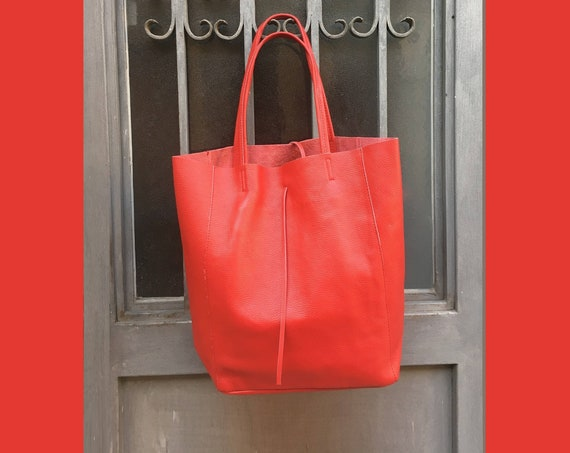 TOTE leather bag in RED . Soft natural GENUINE  leather bag. Large red leather bag. Laptop bag, book bag,large leather tote.