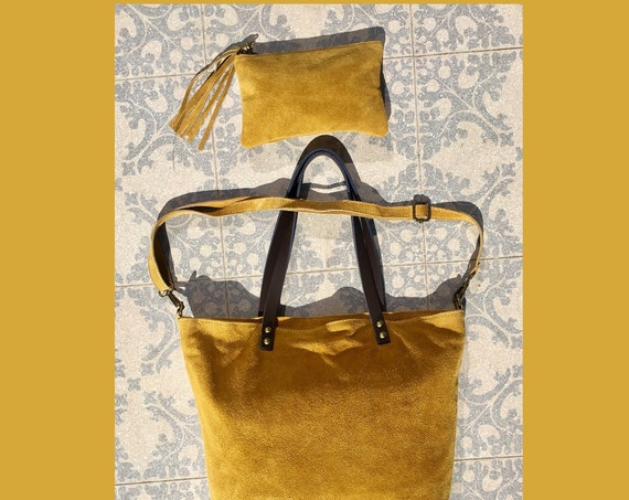 Large TOTE leather bag in MUSTARD yellow with purse or cosmetics bag. Soft  suede, genuine leather bag. Laptop bag . Large cross body bag