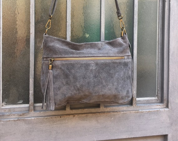BOHO  suede cross over leather bag in GRAY. Soft natural leather bag with tassels. Genuine leather bag, festival Ibiza bags.