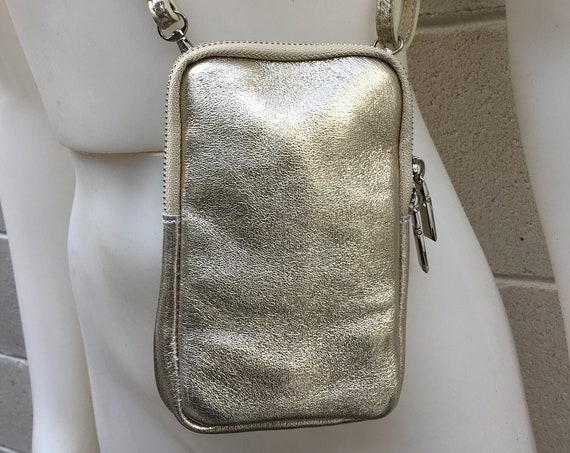Small cross body bag - fanny pack  in GOLD in  genuine leather . Waist  bag with adjustable strap and zipper, leather phone case