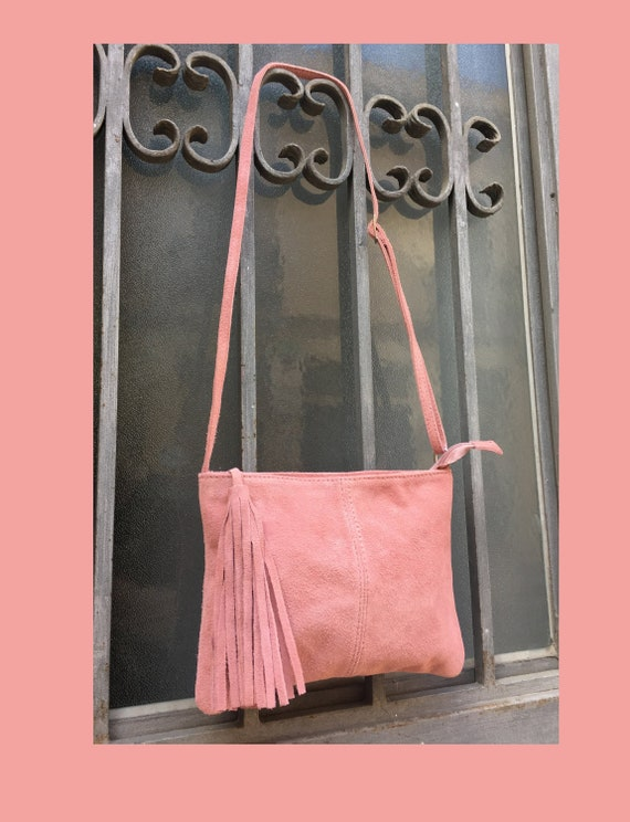 Suede leather bag in PINK . Cross body bag, shoulder bag in GENUINE  leather. Small leather bags, bike bags,adjustable strap and zipper.