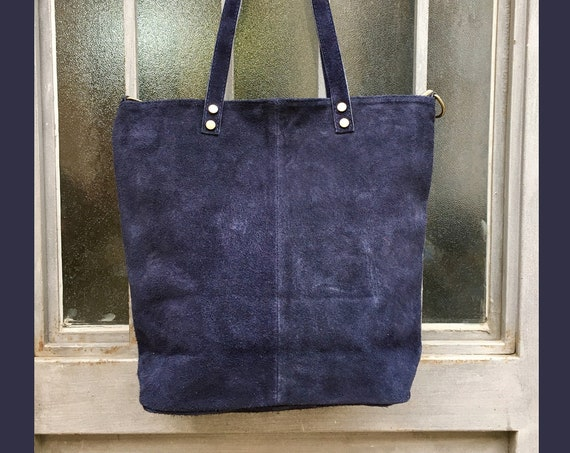 Large blue suede bag. Genuine leather NAVY tote. Large boho suede bag in NAVY blue. Laptop, tablet or book bag with zipper.