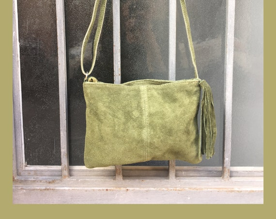 Suede leather bag in MOSS GREEN.Cross body bag, shoulder bag in GENUINE  leather. Small leather bags, bike bags,adjustable strap and zipper.