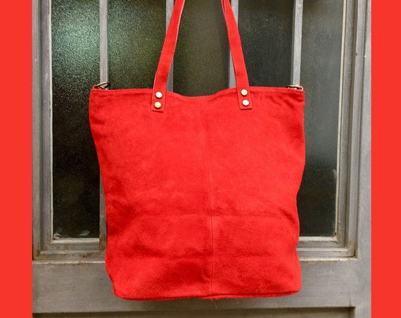 Large RED  suede bag. Genuine leather RED tote. Large boho suede bag in RED. Laptop, tablet or book bag with zipper.