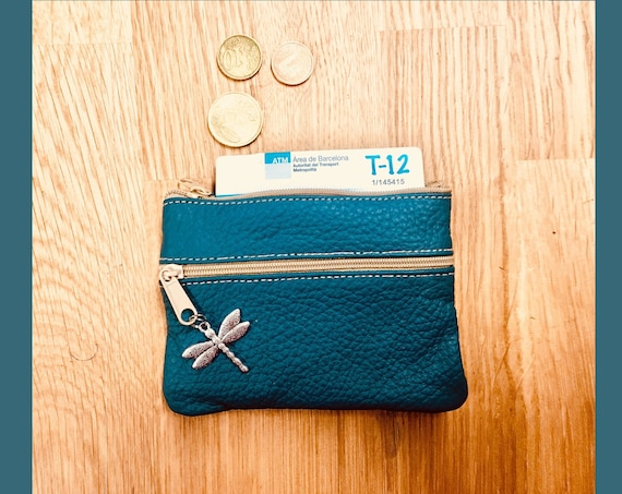 Small purse in DARK TEAL blue, genuine leather, 4 zippers. Fits credit cards, coins, bills. BLUE leather wallet.