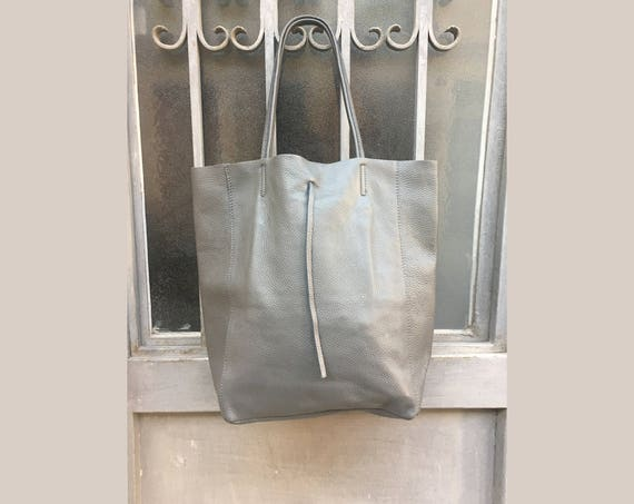 Tote leather bag in GRAY. Soft natural GENUINE  leather bag. Large GREY  bag. Laptop bag, office bag, Gray school leather bag