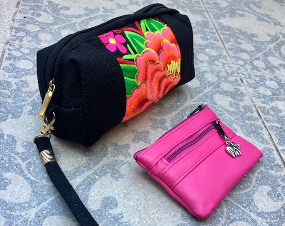 Embroidered CLUTCH and genuine leather purse SET. PINK  purse for coins, bills and cards and embroidered canvas bag for cosmetics and phone
