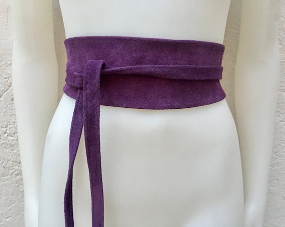 Purple suede OBI belt, SASH in genuine soft  suede,waist belt,soft belt, dark purple sash, obi, boho belt, bohemian sash, boho purple belt