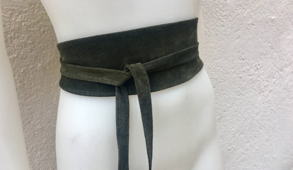 Dark GREEN suede OBI belt, SASH in natural soft  suede,waist belt,soft leather belt, green sash, obi, boho belt, bohemian sash.
