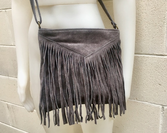 Cross body bag. BOHO suede leather bag in DARK GRAY with fringes. Messenger bag in soft  genuine suede leather. Crossbody hippy bag