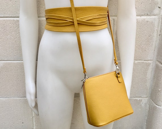 Genuine leather bag in MUSTARD  YELLOW  with matching belt.Cross body bag or fanny pack in GENUINE  leather. Yellow bag and belt