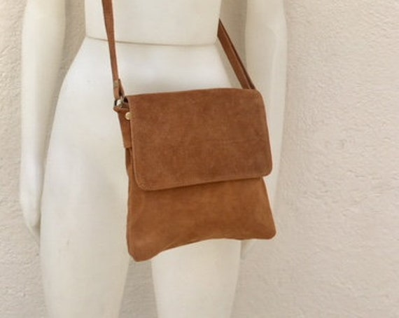 Cross body bag with flap. BOHO suede leather bag in CAMEL BROWN. Soft genuine suede leather. Crossover, messenger bag in suede. Small bag