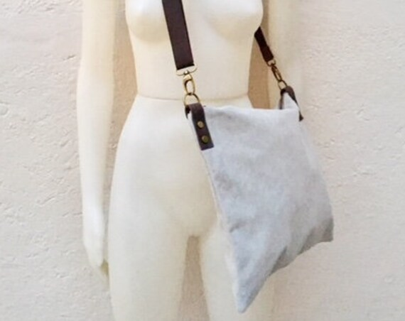 Cross body bag. BOHO suede leather bag in gray. Messenger bag in soft  genuine suede leather. Crossbody bag in gray suede.