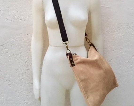 Cross body bag. BOHO suede leather bag in beige. Messenger bag in soft  genuine suede leather. Crossbody bag in beige suede.