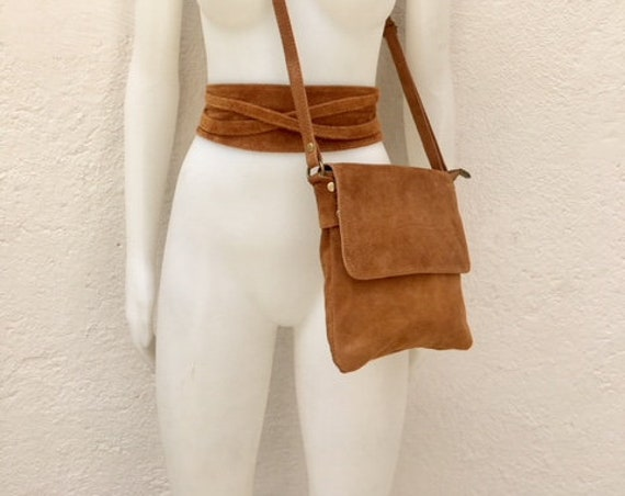 BOHO  suede leather bag in camel BROWN with matching belt. Cross body GENUINE   leather bag and  waistbelt set. Boho festival bag
