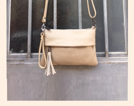 Small leather bag in BEIGE .Cross body bag, shoulder bag in GENUINE  leather. Dark cream color bag with adjustable strap,  zipper and tassel