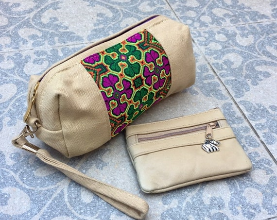 Embroidered CLUTCH and genuine leather purse SET. BEIGE  purse for coins, bills and cards and embroidered canvas bag for cosmetics and phone