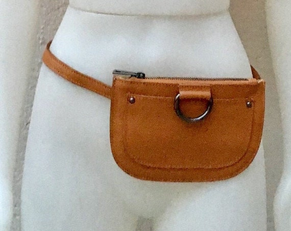 Small leather FANNY pack in  CAMEL brown  .Cross body bag, bum pack bag in GENUINE  leather. Brown bag with adjustable strap and zipper