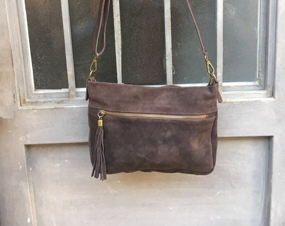 BOHO  suede leather bag in DARK brown. Cross over bag, leather bag, boho bag, messenger suede bag. Soft natural leather bag with tassels