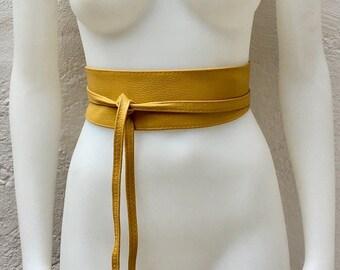 52a0442b82a Obi belt in soff genuine leather.Mustard yellow belt. Yellow sash
