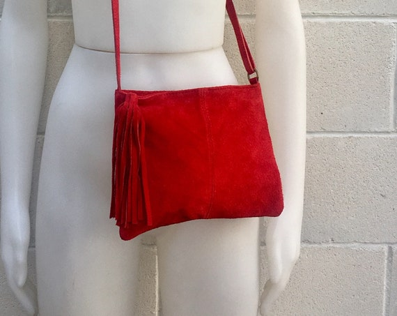 Suede leather bag in RED . Cross body bag, shoulder bag in GENUINE  leather. Small leather bags, bike bags,adjustable strap and zipper.