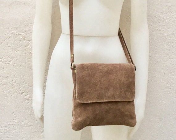 Cross body bag with flap. BOHO suede leather bag in LIGHT BROWN. Soft genuine suede leather. Crossover, messenger bag in suede. Small bag