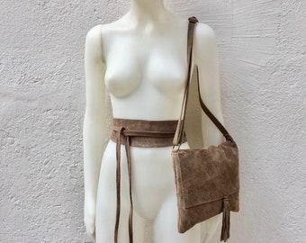 2031d4c11977fe BOHO suede leather bag and obi belt in TAUPE brown -beige. Soft natural  leather bag. Genuine suede set of bag and belt.