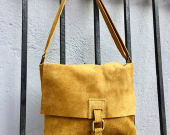 773065b2d001 BOHO suede leather bag in MUSTARD YELLOW. Soft patent genuine suede leather  bag. Crossover