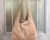 Slouch bag.Large TOTE leather bag in dark BEIGE. Soft natural suede leather bag. Bohemian bag. Light BROWN suede bag.