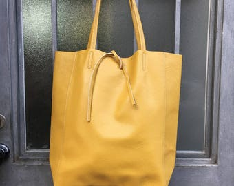 2a964d3d20ce Soft natural GENUINE leather bag. Large yellow leather bag. Computer bag