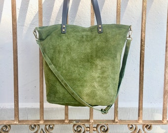 cdc692bc669d Large TOTE leather bag in MOSS green. Soft natural suede genuine leather bag.  GREEN suede bag. Laptop bag in suede. Large crossbody bag.