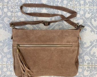 7c12b396c13e BOHO suede leather bag in DARK beige.Soft natural leather bag with tassels