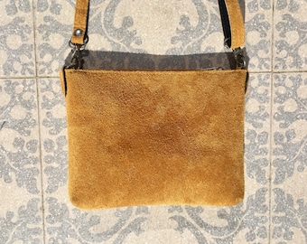 7baf985217 Suede leather bag in MUSTARD YELLOW .Cross body bag