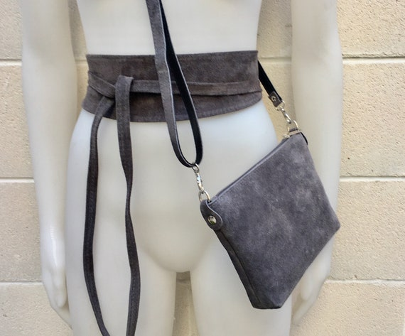 Small suede  bag in DARK GRAY with matching belt. Cross body bag and OBI belt set in suede leather. Adjustable strap and zipper