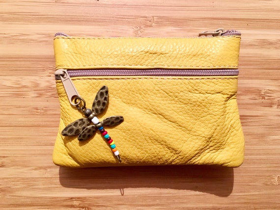 Small purse in MUSTARD YELLOW, genuine leather, closed by 3 zippers. Fits creditcards, coins, bills. YELLOW leather wallet.
