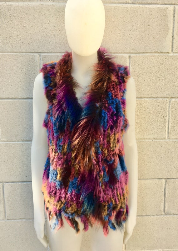 Rabbit fur vest, knitted fur waistcoat,colorful boho vest,  soft fur vest. Genuine fur vest in magenta, teal and  mustard