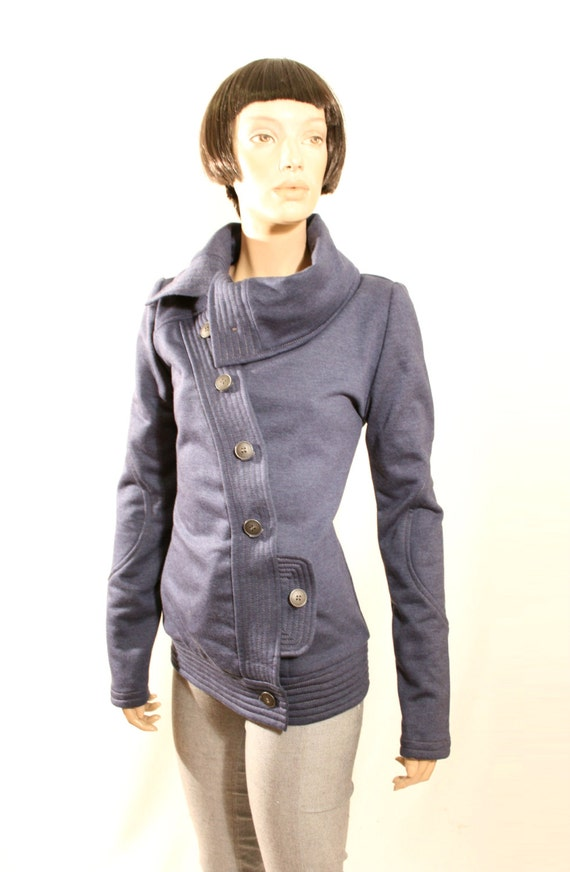 ON SALE Blue jacket, tailored sweatshirt jacket , sports jacket with  buttons, hoodie, high collar, 1 pocket, BLUE sweatshirt