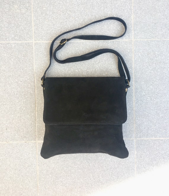 Cross body bag with flap. BOHO suede leather bag in BLACK. Soft genuine suede leather. Crossover, messenger bag in suede. Small bag