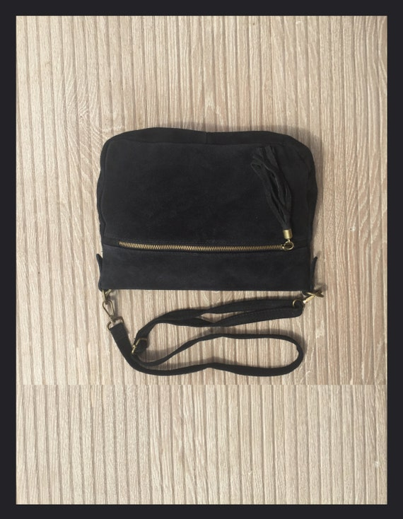 Cross body suede bag in BLACK. Genuine  leather. Soft natural suede. Boho bag in  BLACK. Messenger bag, fits most tablets.