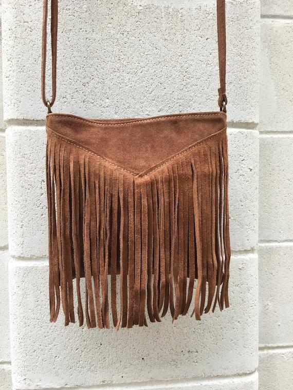 Cross body bag. BOHO suede leather bag in dark CAMEL brown with FRINGES. Messenger bag in soft  genuine suede leather. Crossbody hippy bag