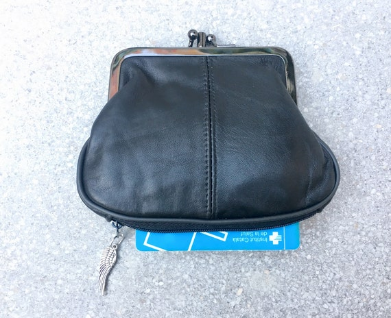Small clip purse in genuine  BLACK leather.  Vintage style BLACK purse for coins, bills and separate zipper for credit cards,
