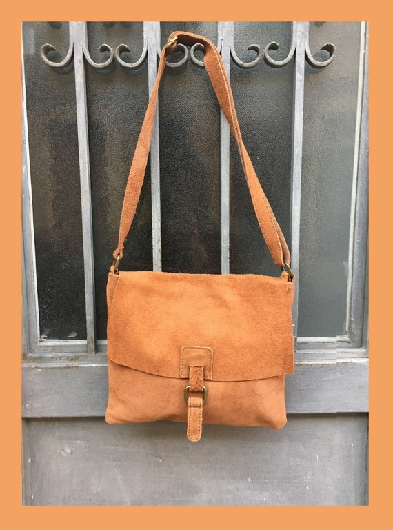 BOHO  suede leather bag in  CAMEL BROWN. Soft patent genuine suede leather bag. Crossover, messenger bag in suede. Festival,  Ibiza bags