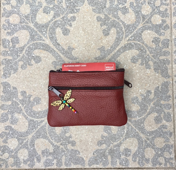 Small purse in BROWN, genuine leather, closed by 3 zippers. Fits creditcards, coins, bills. BROWN  leather wallet.