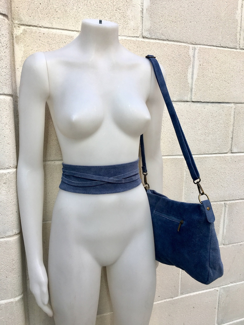 Messenger bag and waist belt in gray genuine leather GRAY with wrap belt BOHO  suede leather cross over bag in BLUE Soft natural leather