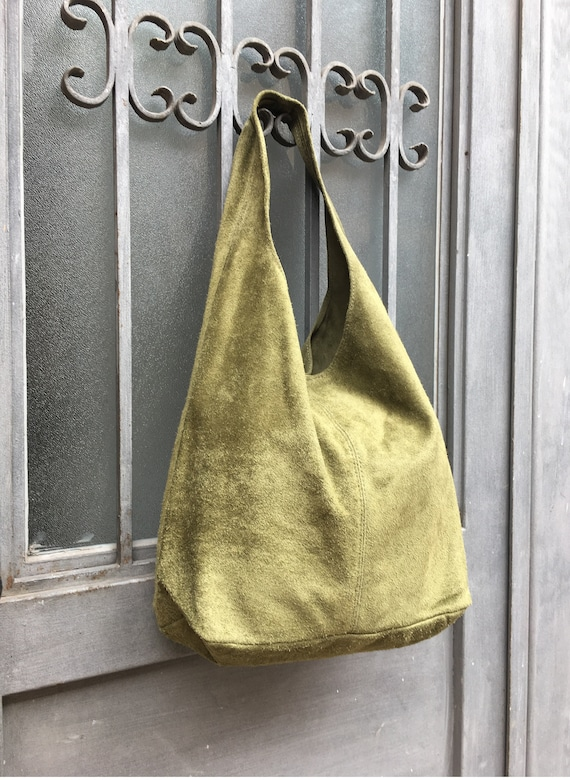 Large TOTE leather bag in moss GREEN . Slouch leather bag. Boho bag. Laptop bags in suede. Large suede leather bag. GREEN suede bag.