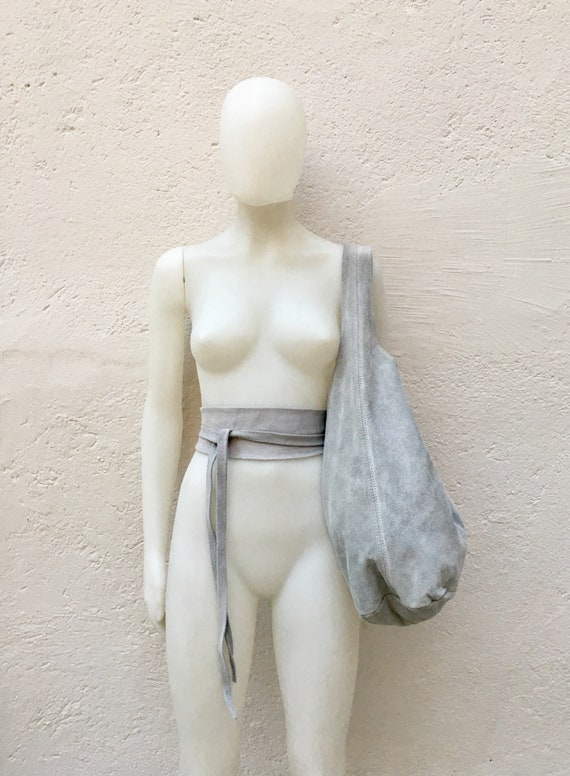 Large  SLOUCH leather bag in light GRAY with matching OBI  belt . Soft natural suede leather bag. Bohemian bag. Gray tote suede bag.