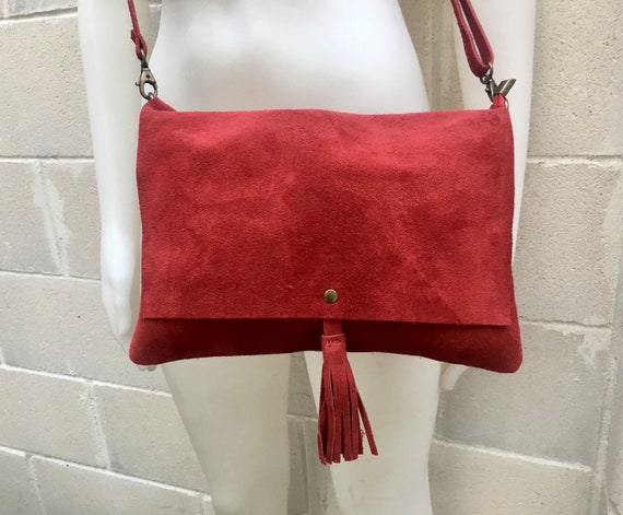 Cross body bag. BOHO suede leather bag in  BURGUNDY. Soft  genuine suede leather. Crossover, messenger bag in RED suede